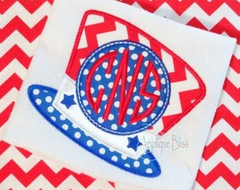 Monogram Uncle Sam Hat Digital Applique Design - Independence Day - July 4th - 4th of July - Machine Embroidery