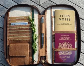 LEATHER TRAVEL WALLET (small) passport holder folio portfolio zip closure secure document organiser real genuine