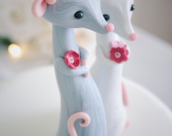 Mouse Wedding Cake Topper - personalized animal clay cake topper and keepsake for woodland rustic and chic wedding theme