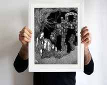 The World is Much Changed, original art, fantasy art, pen and ink drawing, framed art, ink doodle art, handmade drawing, black & white