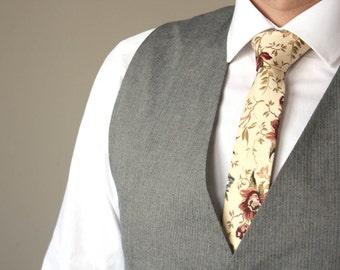 Mens Tie TC066 Brown Floral Handmade Cotton Men's necktie Boom Bow Wedding tie