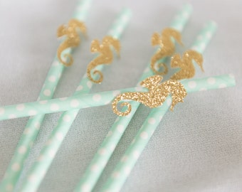 Under the sea birthday straws, little Mermaid birthday, sea green straws, seahorse