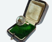 RESERVED4VICTORIAAntique Cat Ring, Diamond Cat Ring, Reverse Intaglio Cat Crystal, Antique Cat Jewelry, Victorian Cat, Cat Love Token
