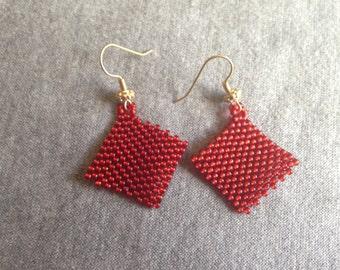 Red Peyote Stitch Earrings