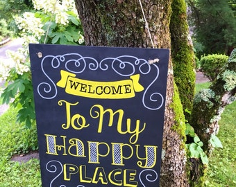 """Hand Painted """"Happy Place"""" Typography Hanging Chalk Sign"""