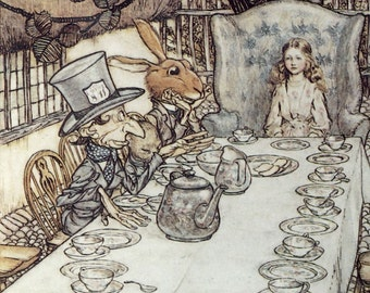 Alice in Wonderland Book by Lewis Carroll,Illustrations  Arthur Rackham Vintage Wall Hanging Art Decor Artwork Reprint For Nusery or Home