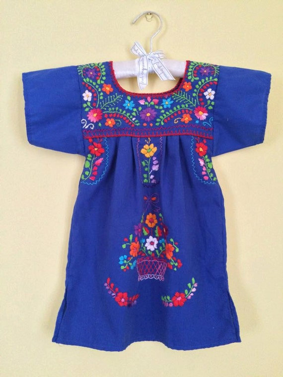 Baby girl mexican embroidered dress flowers blue colourful