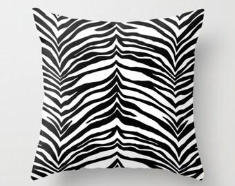 Animal Print Pillow, Black White Cushion, Zebra Print Decorative Pillow, Throw Pillow, Tiger Print Pillow, 16x16 18x18 20x20