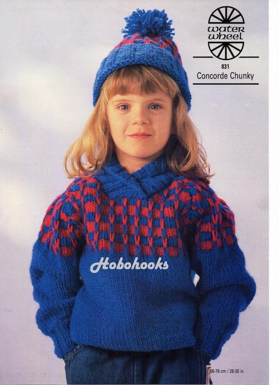 Chunky Knit Childrens Patterns Free : Childrens knitting pattern childrens chunky sweater shawl