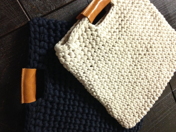 Chunky Crochet Tote Pattern : Chunky crochet bag with real leather handles crochet case