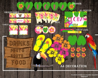 hawaiian decoration party hawaiian kit printable