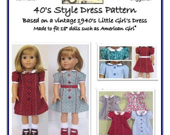 "Forties Style Doll Dress Pattern for 18"" AG dolls"
