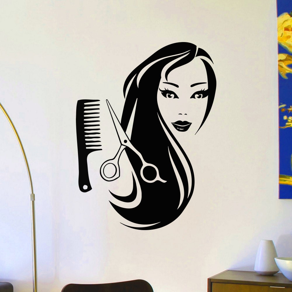 wall decals beauty salon hair spa fashion girl woman face. Black Bedroom Furniture Sets. Home Design Ideas