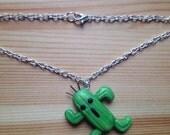 Final Fantasy inspired Cactuar gamer geek necklace featured image