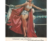"1961 Maidenform Bras ""I Dreamed I Was a Knockout"" Woman in Boxing Ring Silver Gloves Cape Vintage Lingerie Advertising Print Ad Wall Decor"
