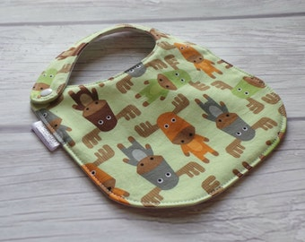 Moose Baby Bib / Side Snap Baby Bib / Gender Neutral Baby Bib / Drool Bib / Organic Cotton Fleece / Green Moose Herd