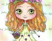 Digital Digi Stamps, Girl Stamp, Coloring Pages, Clip art, Printable Downloads, Line art. Girl with rose