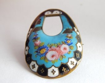 Antique Victorian Enamel Floral Brooch - Forget Me Not Brooch - Rose Brooch - Blue Enamel Brooch - Antique Jewelry