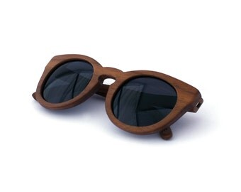 Walnut Wood Sunglasses Circle Wooden Eyewear Polarized Man Woman WOODEER