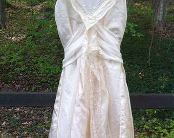 Vintage inspired 1930's style silk and vintage lace wedding dress, ivory boho wedding dress