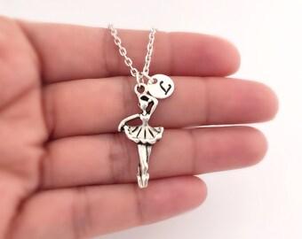 Custom Initial Ballerina Necklace, 3D Ballet Dancer with Initial, Ballet Necklace, Ballet Jewelry, Dance Recital, Personalized Dancer Gift