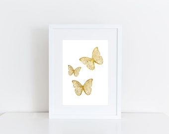 Butterfly Gold -  Print art , Instant download , deco gift , girl wall art
