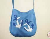 Anchor Shoulder Bag / Handmade Blue and White Casual Handbag