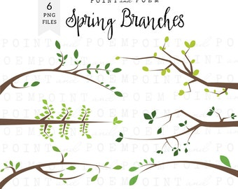 Branches Clipart, Spring Branches Clip Art, Tree Branches Silhouette, Green Branches, scrapbook supplies, party supplies