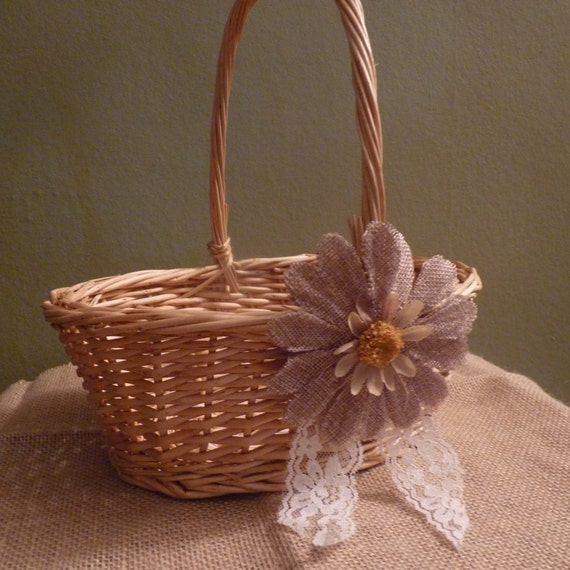 Rustic Burlap Flower Girl Baskets : Rustic burlap and lace basket wedding flower girl