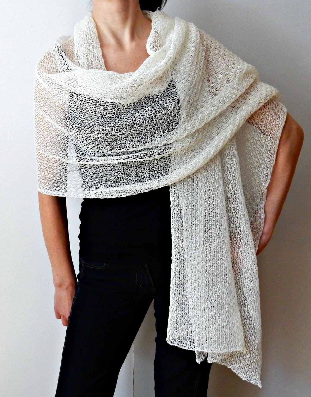 Wedding Shawl Ivory Knit Lace Bridal Shawl Linen scarves wraps