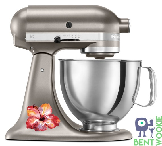 Kitchenaid Hand Mixer Decals ~ Kitchen aid mixer decal of watercolor hibiscus artistic full