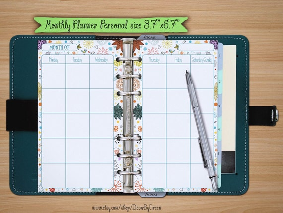 Diy Calendar Organizer : Monthly calendar planner printable schedule filofax