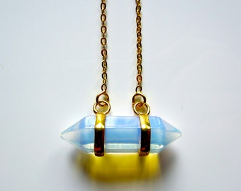 Semi Precious Double Point Moonstone / Opalite Crystal Pendant on Gold Fine Chain Necklace