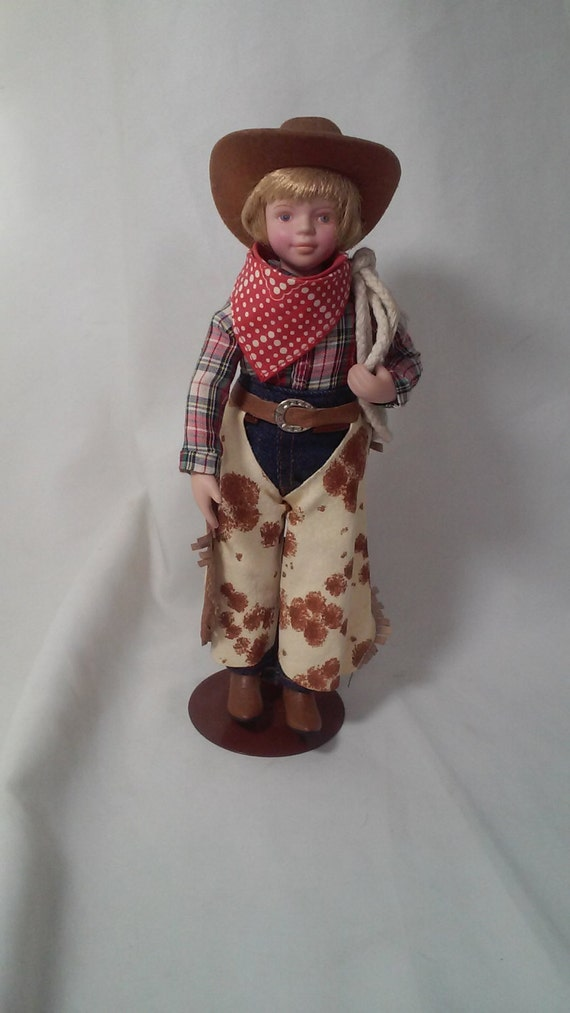 vintage avon collectible 9 cowboy porcelain doll holding