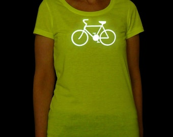 "Women's cyber yellow ""breathable"" REFLECTIVE T-shirt with bicycle  (e-kanape high visibility clothing)"
