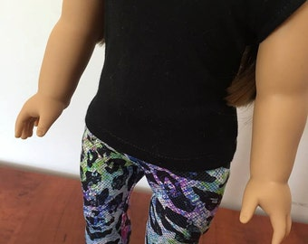Sparkle Leopard Tights. Leggings. Black Shirt. Fits American Girl Doll Clothes, 18 inch doll clothes
