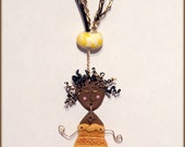FOR SANDRA Pendant Only Naive Whimsical Woman Figure Linked Polymer Clay Caribbean Dancing Girl in Yellow Dress Wire Hair Legs Arms