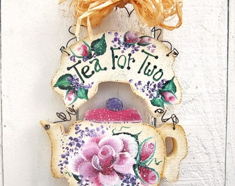 Teapot Door Wall Hanger Painted Rose Tea Sayings Shabby Chic Decorative Painted Wood Teapot Decor Roses Lilacs Pink Lavender Tea For Two