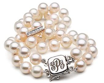 Custom Bridal Monogram Double Strand Akoya Pearl and Diamond Bracelet, 6-6.5m, AAA Quality
