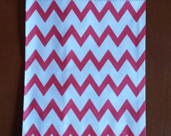 """10 Medium Red and White Chevron Candy bags, measuring 5 1/8"""" x 6 3/8"""""""