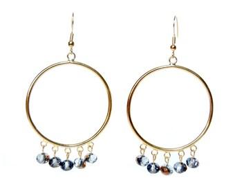 Grey/Gold Tone Swarovski Hoop Earrings