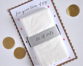 Set of 10 tears of joy tissue handmade envelopes - wedding tissues - happy tears