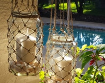 Hanging lantern-Knotted lantern-Twine lantern-Pool décor-Beach décor-Backyard décor-Twine hanger-Mason jar-Seashell décor-Rustic lantern