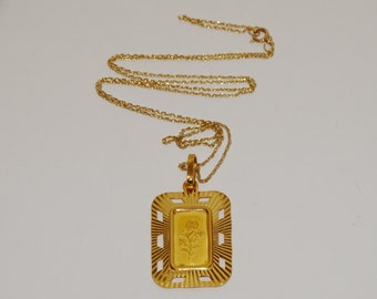 Free Shipping 24k 1 gram Bullion Ingo, with 21k Framed Pendant Vintage Necklace.