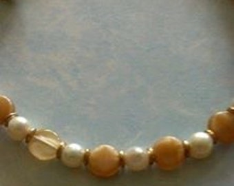 Bracelet - Mother of Pearl and Freshwater Pearls, Gold Plated