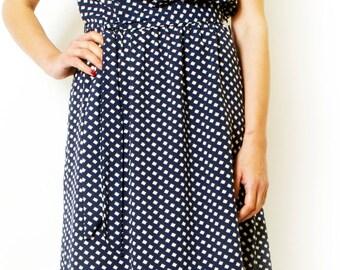 Blue Navy Printed Sundress Sleeveless Summer Midi Dress Women Day Dress