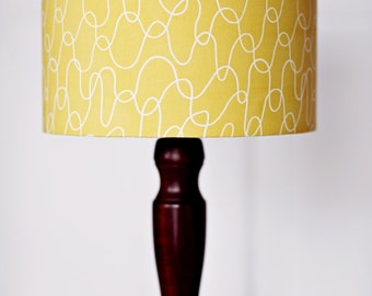 Lampshade, Yellow lamp shade, mustard home decor, retro decor, bedroom lighting, summer lighting, light shade, lamp, yellow, retro lampshade