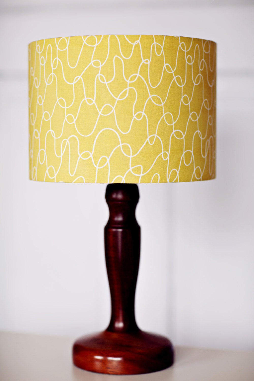 yellow lamp shade lampshade mustard home decor retro decor. Black Bedroom Furniture Sets. Home Design Ideas