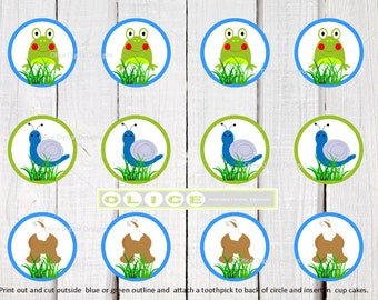 "printable PARTY CIRCLES ""Frogs, Snails and Puppy Dog Tails"" party printables. instant PDF download perfect for every little boy!"
