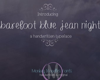 Digital Font Download- Handwritten Font for Commercial Use- Barefoot Blue Jean Night-  True Type Font